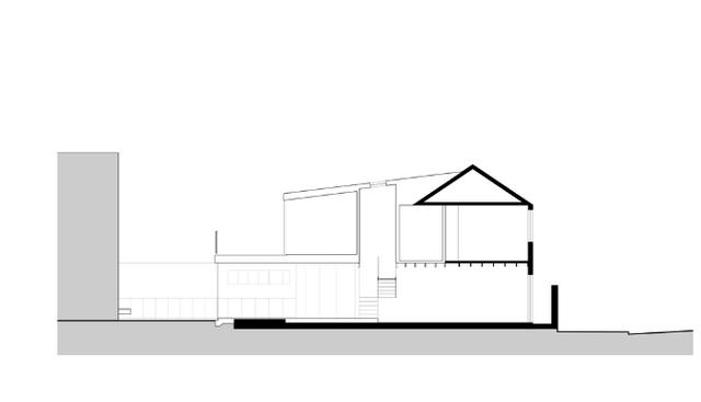 Mặt cắt của ngôi nhà.