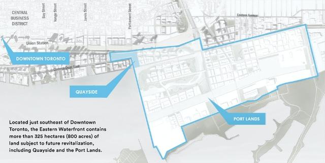 Theo phía Sidewalk Labs, thành phố công nghệ mới của Google sẽ nằm trên khoảng diện tích 12 mẫu anh và có tên gọi là Quaysid. Nó nằm ở khu vực ven hồ Ontario, thành phố Toronto. Quayside sẽ giống một đô thị bình thường nhưng ưu tiên phát triển môi trường bền vững cùng những tiện ích công nghệ.