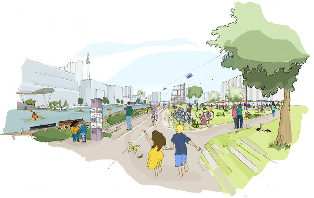 Theo những gì mà Sidewalk Labs minh họa, người dân sống trong khu vực này có thể dùng chung xe đạp hay tận hưởng những không gian xanh.
