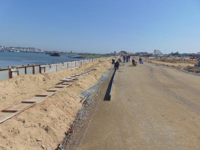 Hạng mục Kè bảo vệ bờ đã hoàn thành 96% khối lượng và cũng đã hoàn thành 98% khối lượng San nền: