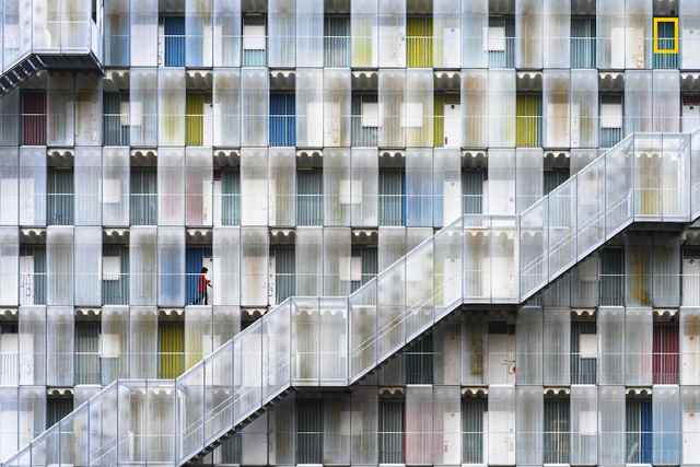 Colorful Apartment của Tetsuya Hashimoto, bức ảnh chụp khu nhà ở tỉnh Gifu, Nhật Bản giành giải khuyến khích.