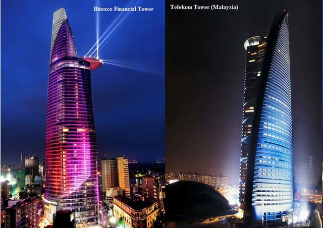 Bức ảnh cho thấy hai tòa nhà có những nét tương đồng như bãi đỗ trực thăng hay lối kiến trúc vát lên ở phía trên toà tháp...