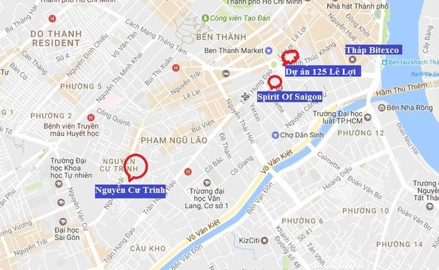 Vị trí 4 dự án trên đất vàng quận 1 của Bitexco, trong đó Spirit Of Saigon bắt đầu xây phần thân, Nguyễn Cư Trinh và 125 Lê Lợi đang hoàn thiện các thủ tục đầu tư.