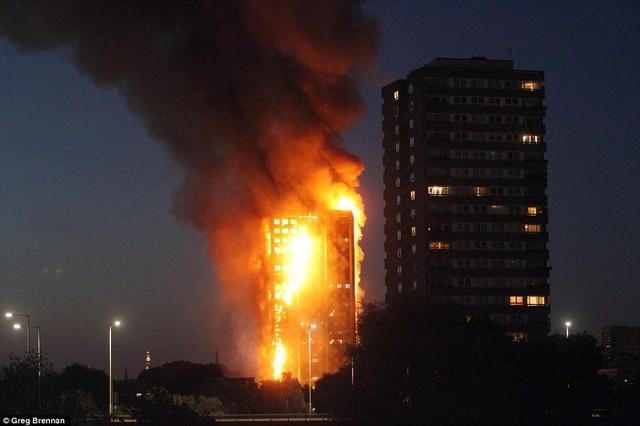 Tháp Grenfell chìm trong biển lửa. Ảnh: Daily Mail