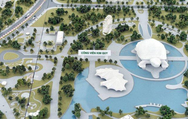 Công viên Kim Quy được lấy cảm hứng từ truyền thuyết Loa thành, mặt bằng tổng thể công viên được thiết kế mang hình dáng của thần Kim Quy đang hướng về phía thành Cổ Loa và bốn chân tọa lạc vững chãi.