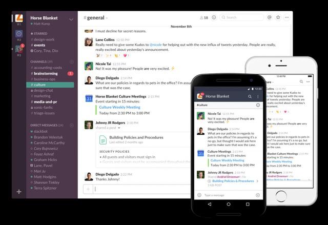 Slack, công cụ chat mới giúp tối ưu hóa khả năng làm nhiều việc trên một ứng dụng, bao gồm cả thư điện tử. Nó được thiết kế để phù hợp trên mọi thiết bị cũng như kết hợp được nhiều ứng dụng khác nhau nhằm đảm bảo công việc. Slack có giá trị khoảng 5 tỷ USD và đang được nhiều ông lớn công nghệ, trong đó có Google và Microsoft lùng mua.