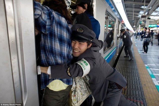 Nhân viên sân ga đẩy hành khách vào trong những toa tàu chật cứng ở Nhật Bản. Ảnh: Alamy