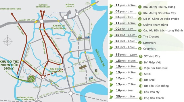 Vị trí khu đô thị Nhơn Đức và tuyến đường Nguyễn Bình