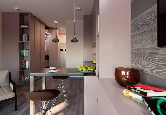 Chiếc bàn nhỏ được thiết kế đơn giản với 1 đầu được vít cố định vào kệ bếp là góc ăn uống lý tưởng cho chủ nhà. Nơi đây khi cần cũng sẽ là bàn làm việc hay chỗ đọc sách lý tưởng.