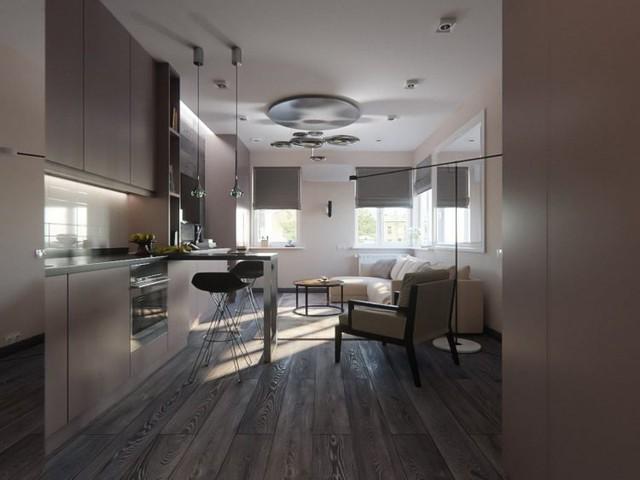 Không ai nghĩ rằng tổ ấm tràn ngập ánh sáng này lại có diện tích chỉ 35m2. Toàn bộ ngôi nhà được phủ một màu nâu xám tạo cảm giác mát mắt và ấm áp cho không gian.