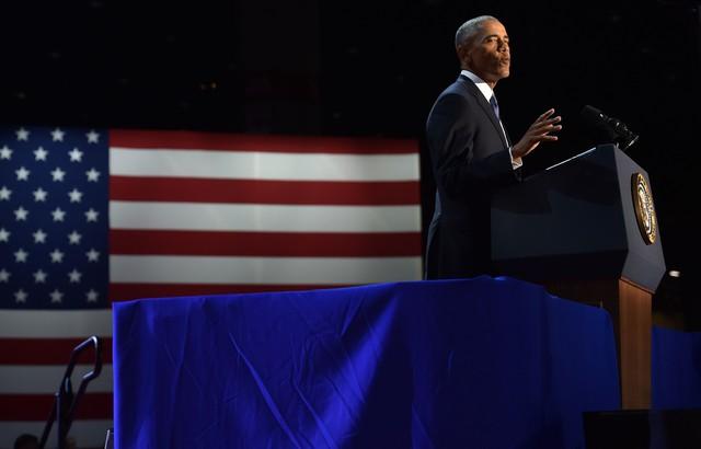 Tổng thống Obama phát biểu tại Chicago. Ảnh: Getty