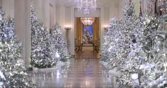 Dưới sự chỉ đạo của Đệ nhất phu nhân Melania Trump, Nhà Trắng năm nay được trang trí bằng 71 lãng hoa, 53 cây thông Noel, 12.000 món đồ trang trí và rất nhiều đèn nháy.