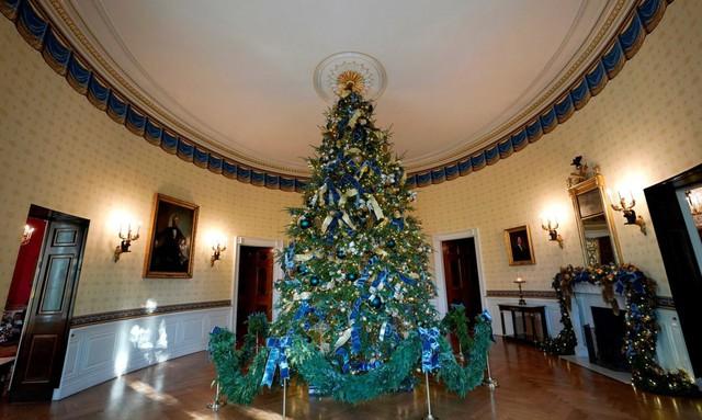 Cây thông chính nằm giữa Phòng Xanh của Nhà Trắng. Nó có đầy đủ huy hiệu của các bang và vùng lãnh thổ của nước Mỹ.