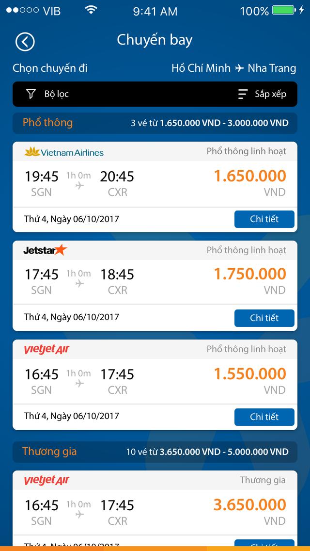 Giao diện tính năng đặt vé máy bay