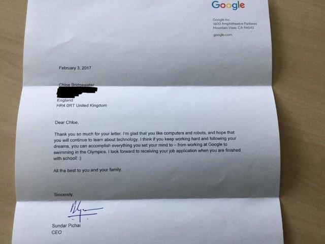 Bức thư phản hồi cô bé Chloe của CEO Sundar Pichai.