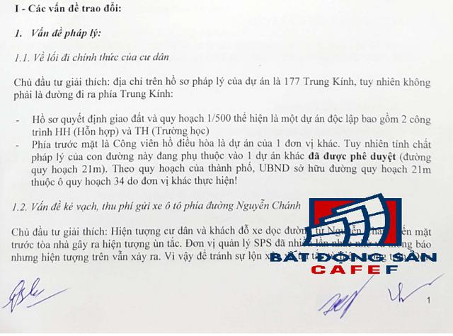 Biên bản họp ngày 8/1/2017 có chữ ký của ông Nguyễn Thế Vinh - Đại Diện pháp lý chủ đầu tư Văn Phú - Trung Kính.