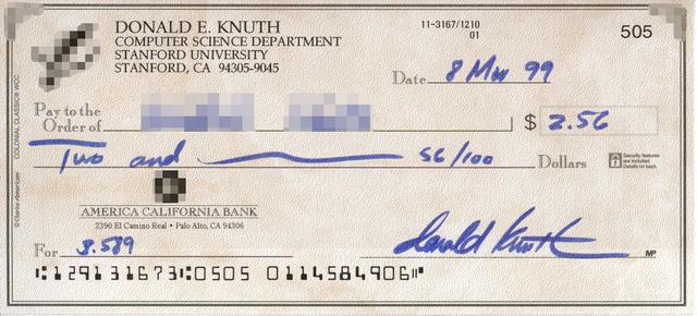 Tờ séc chứng nhận Knuth Rewards Check.