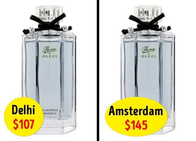 Nước hoa Flora by Gucci có giá chính thức là 119USD, nhưng ở sân bay Amsterdam là 145USD và chỉ có 107USD ở Delhi.