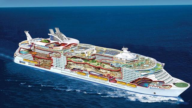 Con tàu The Harmony of the Seas (Tạm dịch: Sự hài hòa của biển) của hãng Royal Caribbean được coi là con tàu lớn nhất thế giới hiện nay với khối lượng khoảng 227.000 tấn. Thực tế, con tàu dài khoảng 362m và rộng 65m với sức chứa lên tới 8.880 người. Với kích thước khổng lồ, 18 boong tàu, người ta phải thiết kế đến 18 thang máy để tiện cho việc di chuyển. Theo tin đồn, trong chuyến đi đầu tiên, mỗi vị khách được trang bị một vòng tay GPS để định vị và tìm đường khi đi lại trên tàu.