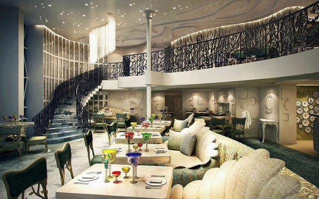Con tàu có 16 nhà hàng được thiết kế với khung cảnh tuyệt đẹp như thế giới tưởng tượng trong câu chuyện cổ tích.
