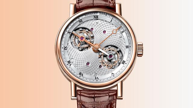 Chiếc đồng hồ thuộc về thương hiệu cha đẻ của thiết kế Tourbillon chiếc Breguet Classique Complications Double Tourbillon 5347. Tuyệt tác này có 2 Tourbillon có vòng quay độc lập kết nối với nhau bằng trục đặc biệt mang lại sự chuẩn xác tuyệt vời cho đồng hồ. Dây đeo được thiết kế từ da cá sấu. Chiếc đồng hồ tourbillon song sinh ấn tượng này có giá từ 399.000USD cho phiên bản vàng hồng và 429.000USD cho phiên bản platinum.