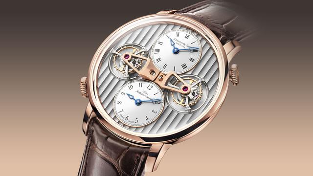 Chiếc đồng hồ Arnold & Son DTE tourbillon kép khá đặc biệt bởi mỗi tourbillon chịu trách nhiệm hiển thị 2 múi giờ với 2 mặt số tương ứng. Tùy thuộc sự điều chỉnh của người dùng, chiếc đồng hồ có thể hiển thị giờ ở 2 múi giờ chênh lệch nhau.