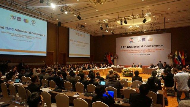 Toàn cảnh Hội nghị Bộ trưởng Chương trình hợp tác kinh tế Tiểu vùng Mê Công mở rộng. Ảnh: Linh Anh