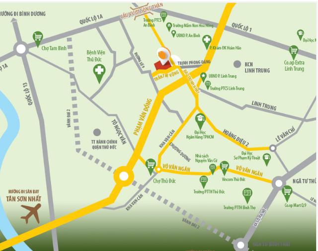 Vị trí dự án toạ lạc cách Đại lộ Phạm Văn Đồng khoảng 1,5km giúp kế nối với sân bay Tân Sơn Nhất - tuyến đường đang bùng nổ dự án BĐS.