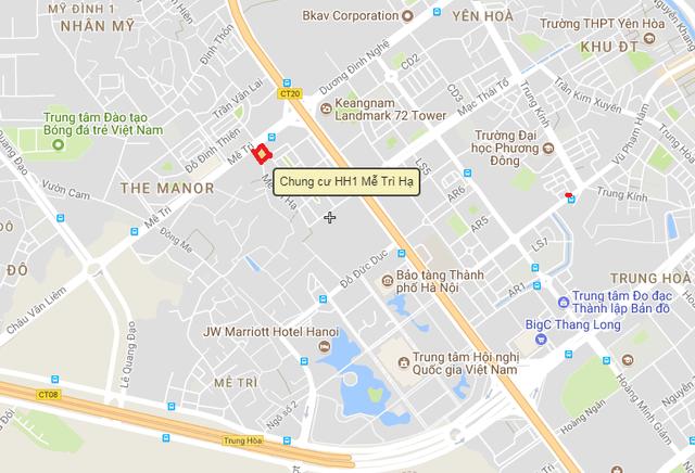 Chung cư HH1 Mễ Trì Hạ tọa lạc ngay trên đường Mễ Trì, ngay gần tòa nhà Keangnam.