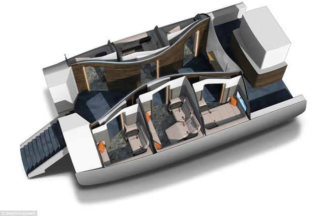 Mỗi hành khách ở trong một khoang nhỏ có 6 phòng riêng.