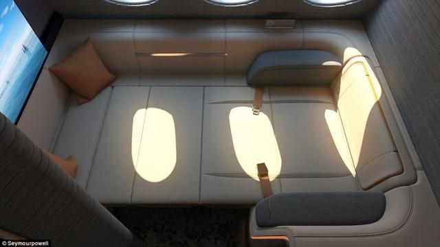 Mô hình phòng cho khách trong khoang hạng nhất này được dự kiến thiết kế cho máy bay chở khách lớn nhất thế giới hiện nay Airbus A380.
