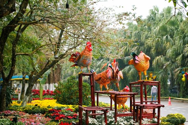 Đường hoa kết hợp với chủ để năm Đinh Dậu với những chú gà ngộ nghĩnh, tạo nên quang cảnh đặc sắc cho con đường.