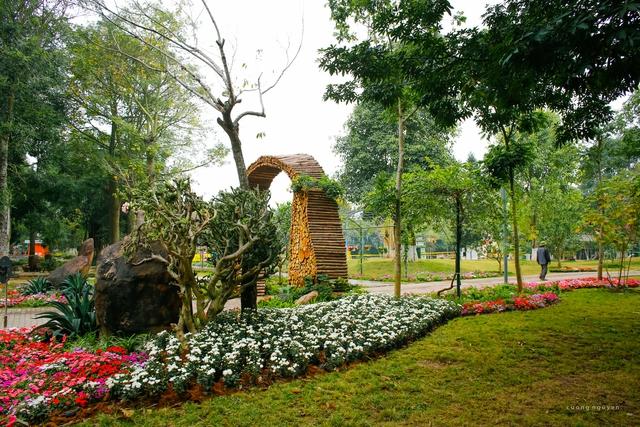 Không gian ngập tràn hoa bên trong khu đô thị Ecopark.
