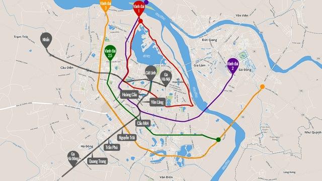 Hệ thống đường vành đai và metro tại Hà Nội
