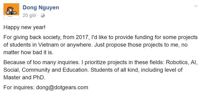 Nguyễn Hà Đông công khai việc sẽ cấp vốn khởi nghiệp cho các bạn sinh viên Việt Nam, trên trang Facebook cá nhân.