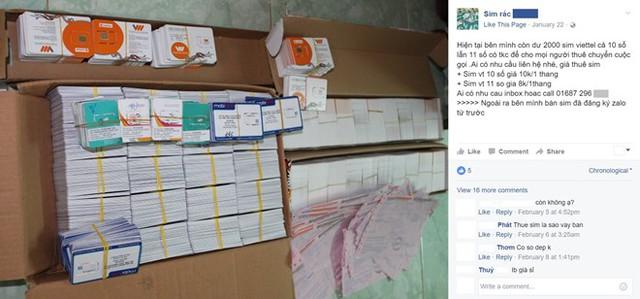 SIM rác được rao bán công khai số lương lớn trên mạng xã hội, thu hút nhiều người mua. Ảnh: chụp màn hình.