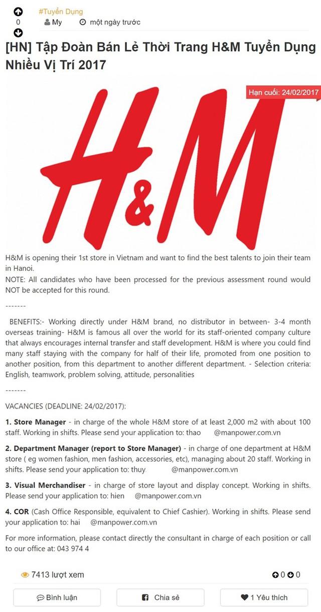 Bản tin tuyển dụng của tập đoàn bán lẻ thời trang H&M đang khiến cư dân mạng Hà Nội khấp khởi mừng.