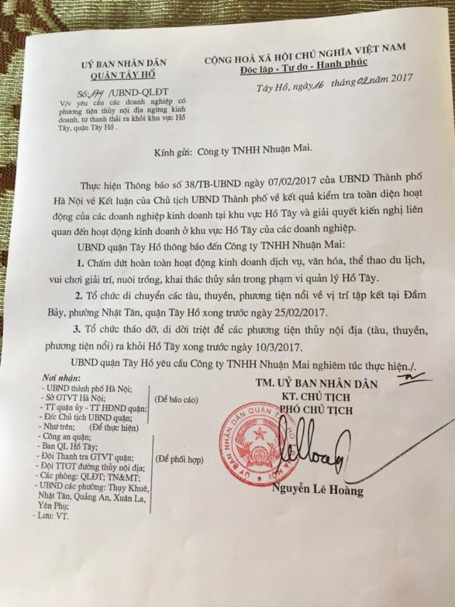 Công văn của UBND quận Tây Hồ gửi các DN ngày 16/2 (ảnh Hải Minh - NDH)