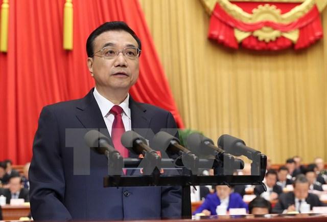 Thủ tướng Trung Quốc Lý Khắc Cường phát biểu tại lễ khai mạc Kỳ họp thường niên lần thứ 5 Đại hội Đại biểu Nhân dân Toàn quốc. (Nguồn: THX/TTXVN)