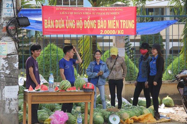 Sinh viên tình nguyện tiêu thụ giúp dưa cho nông dân Quảng Ngãi - Ảnh: Tuổi Trẻ