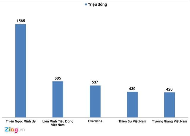 Thiên Ngọc Minh Uy là doanh nghiệp bán hàng đa cấp bị xử phạt nhiều nhất năm 2016 - Nguồn: Cục Quản lý cạnh tranh. Đồ họa: Hiếu Công.