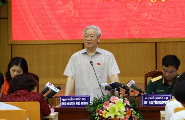 Tổng Bí thư Nguyễn Phú Trọng phát biểu tại buổi tiếp xúc cử tri Hà Nội. - Ảnh: VGP/Gia Huy