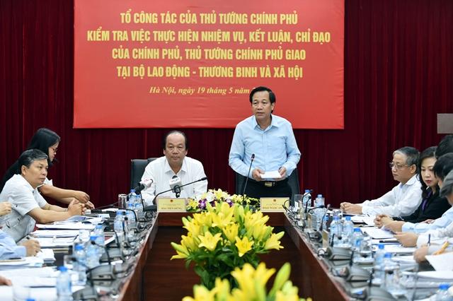 Bộ trưởng Đào Ngọc Dung phát biểu tại buổi kiểm tra. - Ảnh: VGP/Nhật Bắc