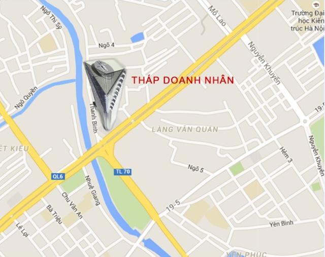 Dự án chung cư Tháp doanh nhân tọa lạc ngay mặt đường Trần Phú.
