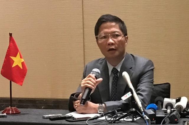 Bộ trưởng Bộ Công Thương Trần Tuấn Anh tại buổi họp báo sau cuộc họp với bộ trưởng thương mại TPP - Ảnh: Bộ Công Thương