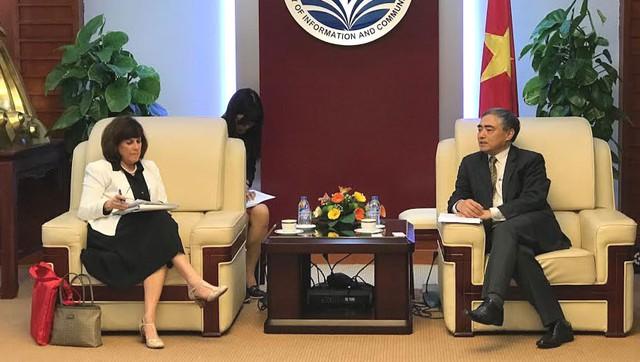 Thứ trưởng Bộ TT&TT Nguyễn Minh Hồng tiếp bà Barbara Weisel, trợ lý Đại diện thương mại Hoa Kỳ phụ trách khu vực châu Á-TBD. Ảnh: Thái An