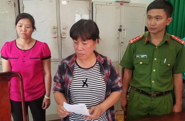 Đối tượng Trương Thị Tính (x) bị bắt giữ tại cơ quan điều tra