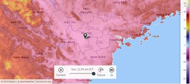 Nhiệt độ ở các tỉnh miền Bắc đã vượt ngưỡng 40 độ C, cập nhật lúc 11h35. Nguồn: Weather Channel