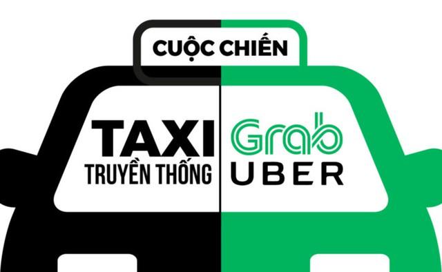 Một số hãng taxi truyền thống cho rằng Uber và Grab đang cạnh tranh không lành mạnh. Ảnh: Zing.vn