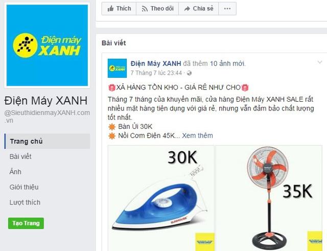 Fanpage giả mạo Điện máy Xanh đang rao bán bàn là, quạt giá 30.000 - 35.000 đồng. Ảnh chụp màn hình.